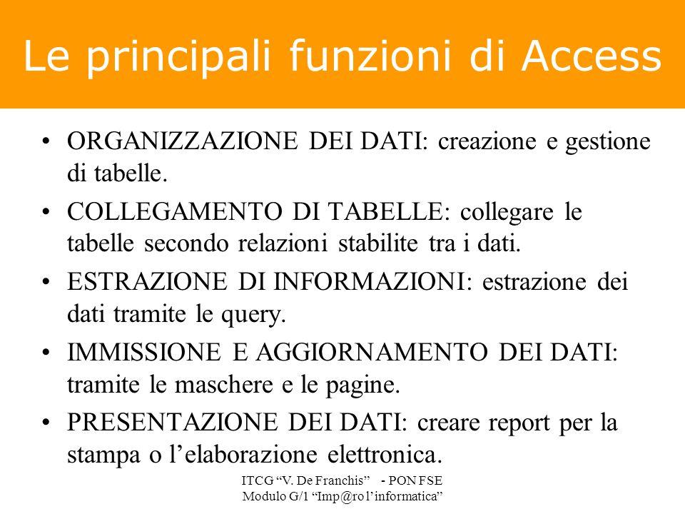 Le principali funzioni di Access ORGANIZZAZIONE DEI DATI: creazione e gestione di tabelle. COLLEGAMENTO DI TABELLE: collegare le tabelle secondo relaz