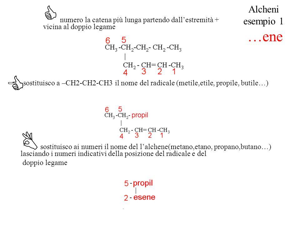 C numero la catena più lunga partendo dall'estremità + vicina al doppio legame sostituisco a –CH2-CH2-CH3 il nome del radicale (metile,etile, propile,