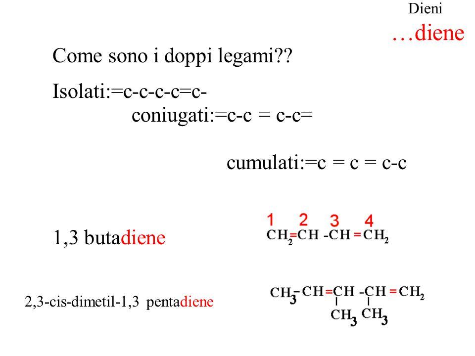 Dieni …diene 1,3 butadiene 2,3-cis-dimetil-1,3 pentadiene Come sono i doppi legami?? Isolati:=c-c-c-c=c- coniugati:=c-c = c-c= cumulati:=c = c = c-c