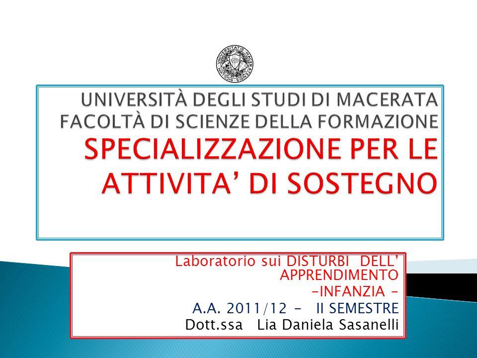 Laboratorio sui DISTURBI DELL' APPRENDIMENTO -INFANZIA - A.A.