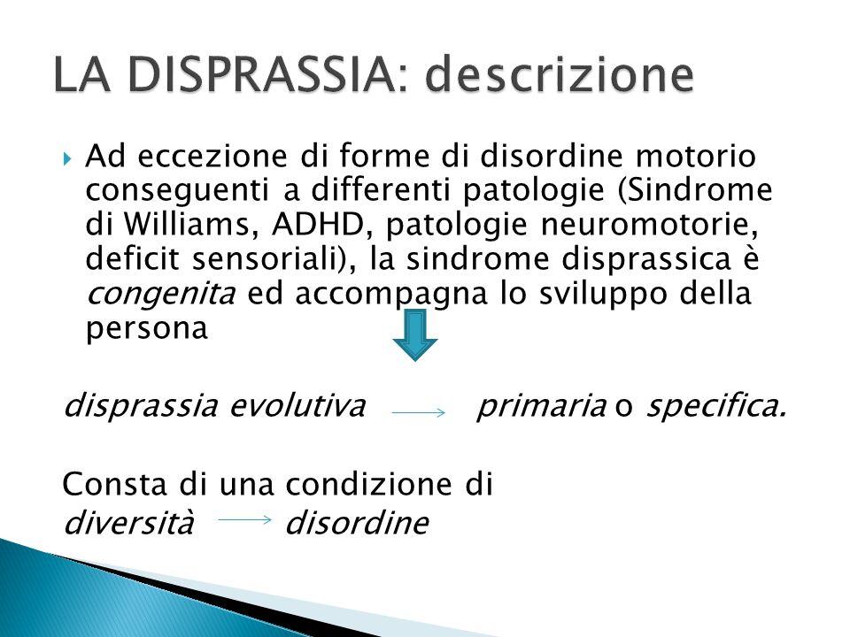  Ad eccezione di forme di disordine motorio conseguenti a differenti patologie (Sindrome di Williams, ADHD, patologie neuromotorie, deficit sensoriali), la sindrome disprassica è congenita ed accompagna lo sviluppo della persona disprassia evolutiva primaria o specifica.