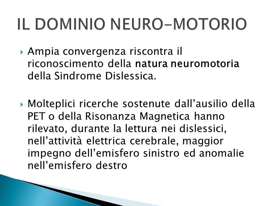  Ampia convergenza riscontra il riconoscimento della natura neuromotoria della Sindrome Dislessica.