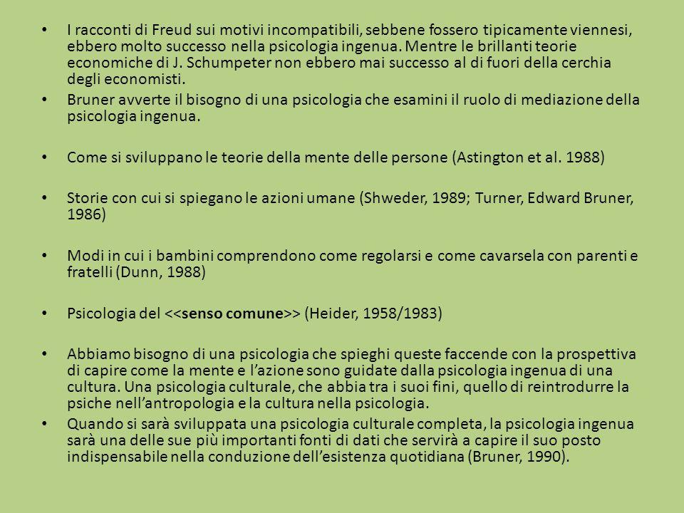I racconti di Freud sui motivi incompatibili, sebbene fossero tipicamente viennesi, ebbero molto successo nella psicologia ingenua. Mentre le brillant