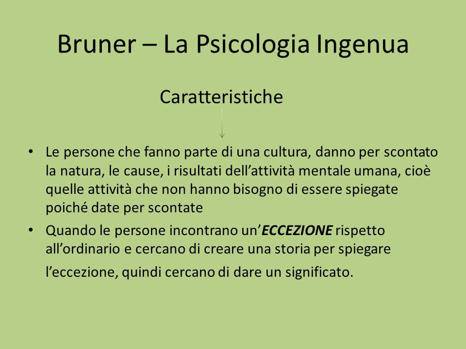 Bruner – La Psicologia Ingenua Caratteristiche Le persone che fanno parte di una cultura, danno per scontato la natura, le cause, i risultati dell'att