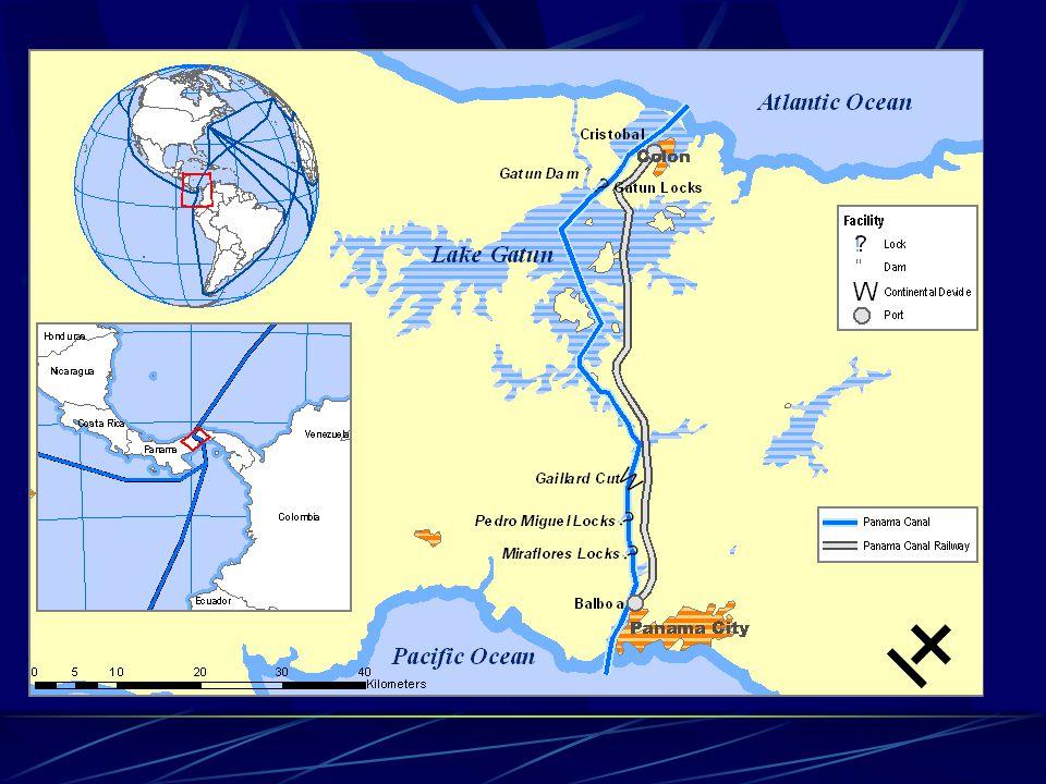 Le navi che attraversano il canale non possono superare i 292,68 metri di lunghezza e i 32,31 metri di larghezza a causa delle massime dimensioni dell