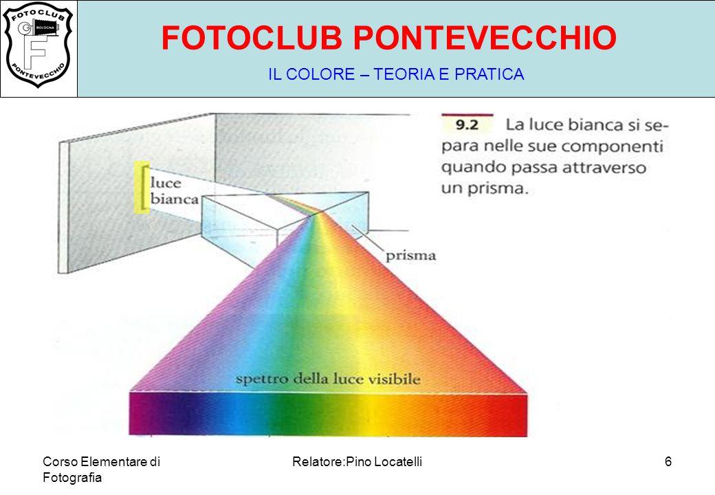 Corso Elementare di Fotografia Relatore:Pino Locatelli6 FOTOCLUB PONTEVECCHIO IL COLORE – TEORIA E PRATICA MA VISIBILE DA CHI?