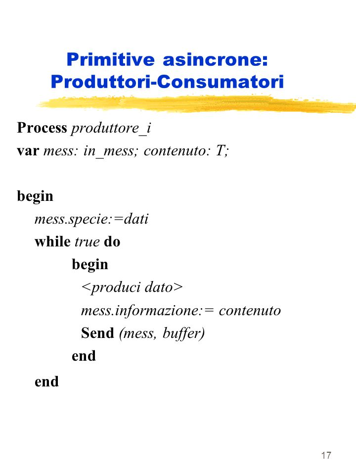 17 Primitive asincrone: Produttori-Consumatori Process produttore_i var mess: in_mess; contenuto: T; begin mess.specie:=dati while true do begin mess.