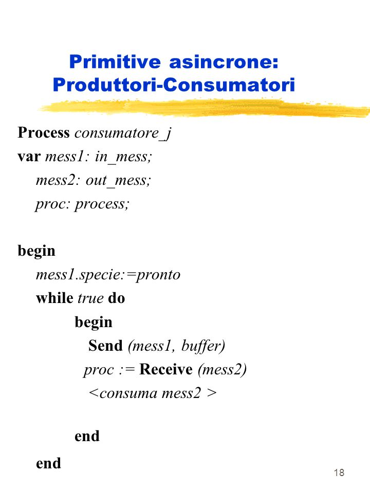 18 Primitive asincrone: Produttori-Consumatori Process consumatore_j var mess1: in_mess; mess2: out_mess; proc: process; begin mess1.specie:=pronto wh