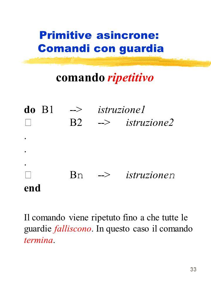 33 Primitive asincrone: Comandi con guardia comando ripetitivo do B1 --> istruzione1 B2 --> istruzione2.