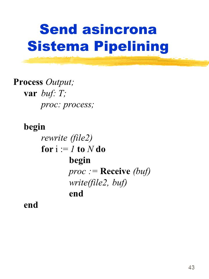 43 Send asincrona Sistema Pipelining Process Output; var buf: T; proc: process; begin rewrite (file2) for i := 1 to N do begin proc := Receive (buf) w