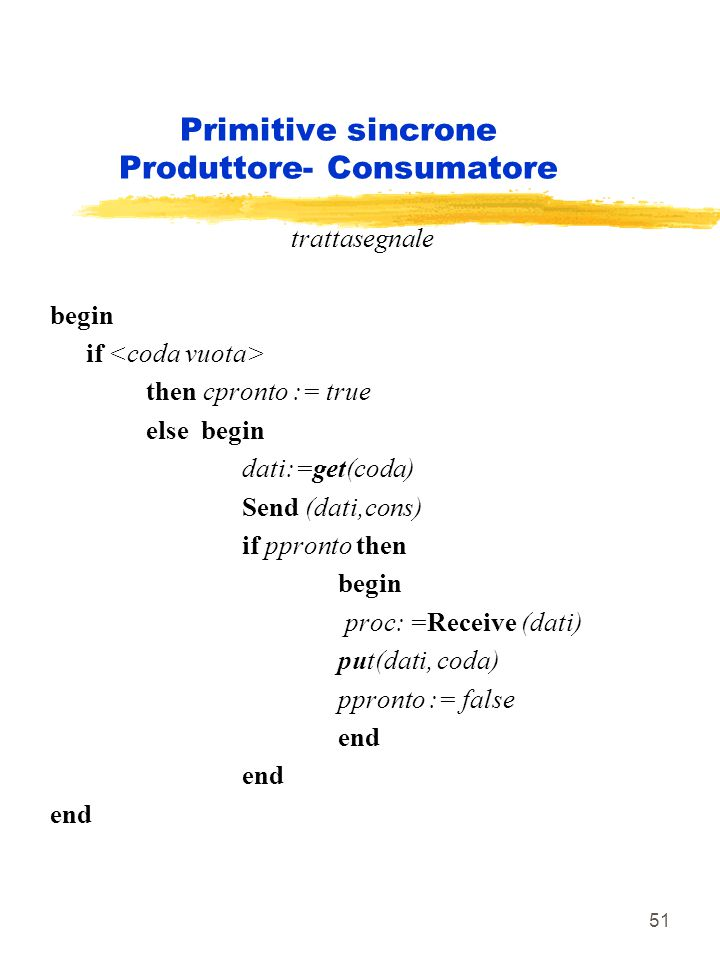 51 Primitive sincrone Produttore- Consumatore trattasegnale begin if then cpronto := true else begin dati:=get(coda) Send (dati,cons) if ppronto then