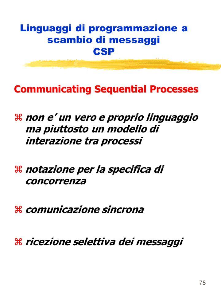 75 Linguaggi di programmazione a scambio di messaggi CSP Communicating Sequential Processes znon e' un vero e proprio linguaggio ma piuttosto un modello di interazione tra processi znotazione per la specifica di concorrenza zcomunicazione sincrona zricezione selettiva dei messaggi