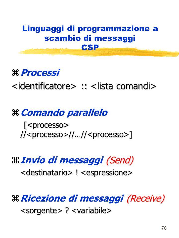 76 Linguaggi di programmazione a scambio di messaggi CSP zProcessi :: :: zComando parallelo [ // //…// ] [ // //…// ] (Send) zInvio di messaggi (Send) .