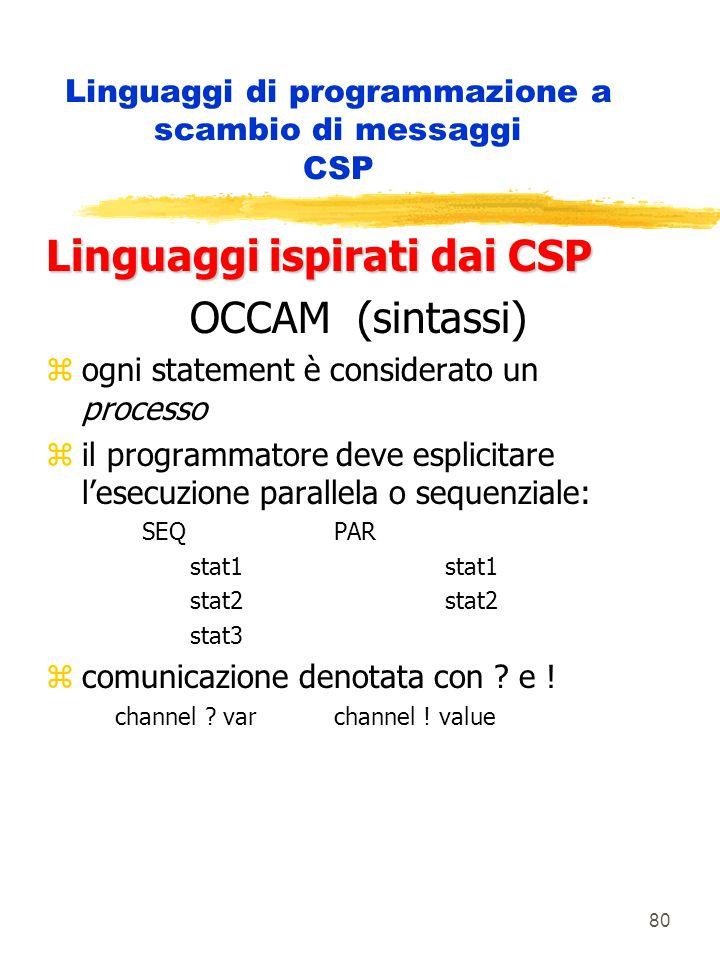 80 Linguaggi di programmazione a scambio di messaggi CSP Linguaggi ispirati dai CSP OCCAM (sintassi) zogni statement è considerato un processo zil programmatore deve esplicitare l'esecuzione parallela o sequenziale: SEQPAR stat1 stat2 stat3 zcomunicazione denotata con .