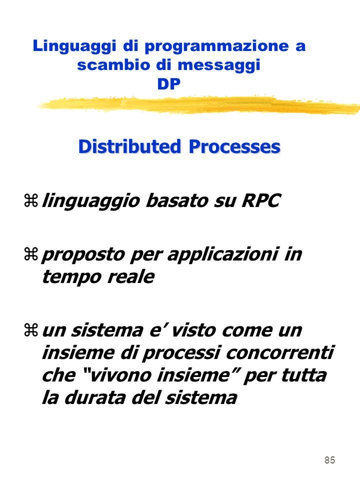85 Linguaggi di programmazione a scambio di messaggi DP Distributed Processes zlinguaggio basato su RPC zproposto per applicazioni in tempo reale zun sistema e' visto come un insieme di processi concorrenti che vivono insieme per tutta la durata del sistema