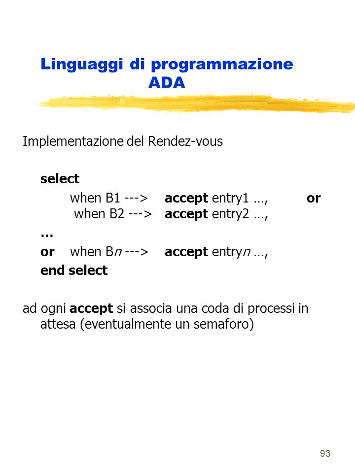 93 Linguaggi di programmazione ADA Implementazione del Rendez-vous select when B1 --->accept entry1 …, or when B2 --->accept entry2 …, … or when Bn --