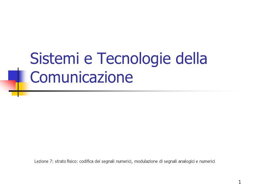 1 Sistemi e Tecnologie della Comunicazione Lezione 7: strato fisico: codifica dei segnali numerici, modulazione di segnali analogici e numerici