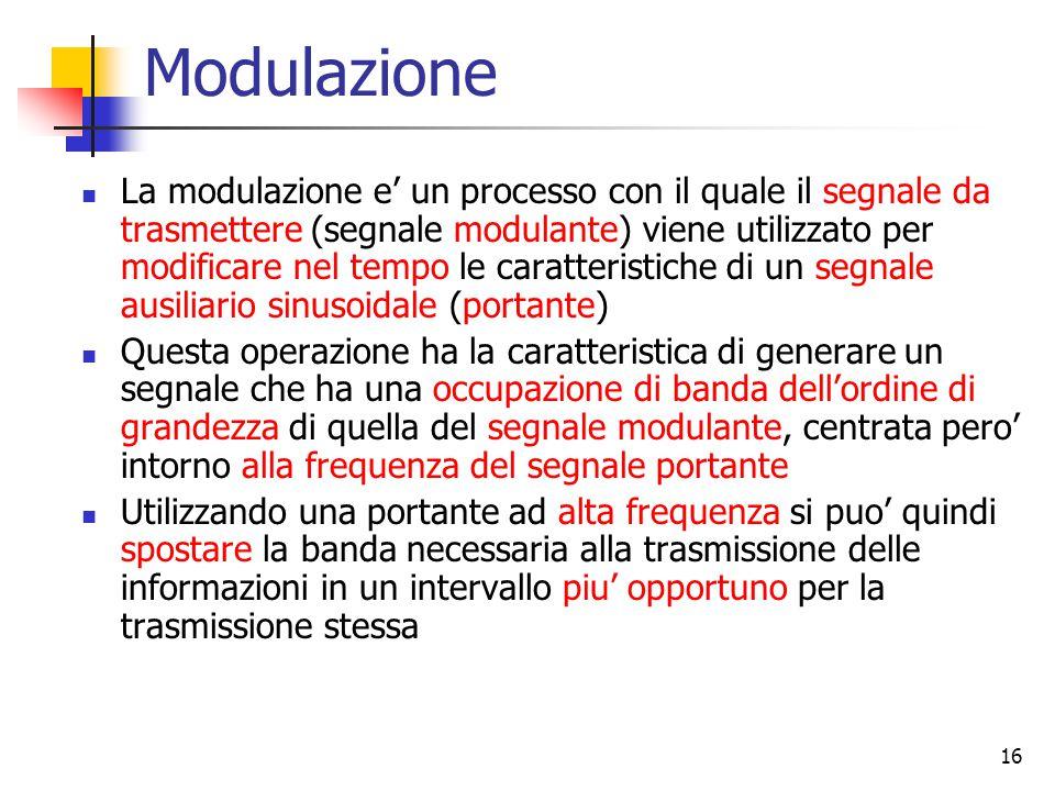 16 Modulazione La modulazione e' un processo con il quale il segnale da trasmettere (segnale modulante) viene utilizzato per modificare nel tempo le caratteristiche di un segnale ausiliario sinusoidale (portante) Questa operazione ha la caratteristica di generare un segnale che ha una occupazione di banda dell'ordine di grandezza di quella del segnale modulante, centrata pero' intorno alla frequenza del segnale portante Utilizzando una portante ad alta frequenza si puo' quindi spostare la banda necessaria alla trasmissione delle informazioni in un intervallo piu' opportuno per la trasmissione stessa