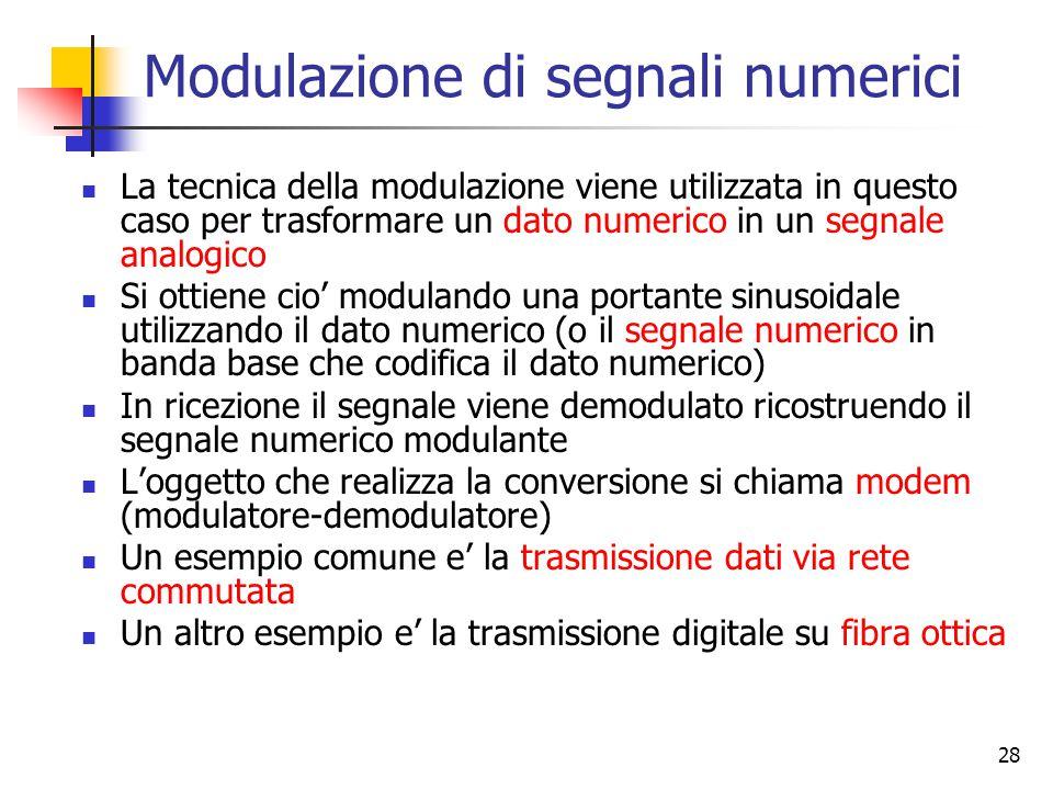 28 Modulazione di segnali numerici La tecnica della modulazione viene utilizzata in questo caso per trasformare un dato numerico in un segnale analogico Si ottiene cio' modulando una portante sinusoidale utilizzando il dato numerico (o il segnale numerico in banda base che codifica il dato numerico) In ricezione il segnale viene demodulato ricostruendo il segnale numerico modulante L'oggetto che realizza la conversione si chiama modem (modulatore-demodulatore) Un esempio comune e' la trasmissione dati via rete commutata Un altro esempio e' la trasmissione digitale su fibra ottica