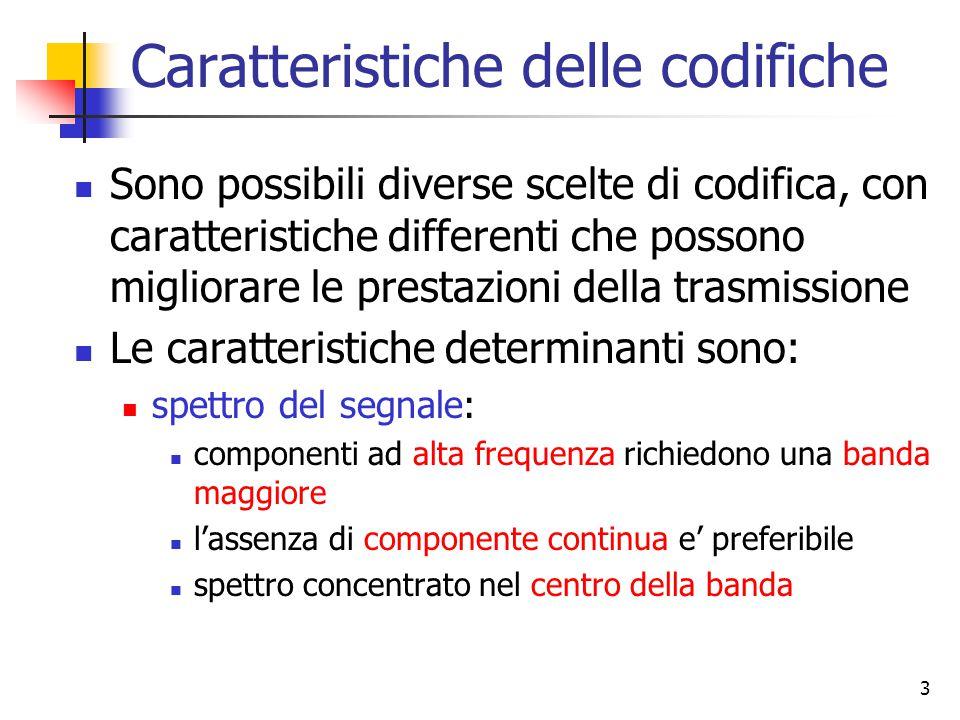 3 Caratteristiche delle codifiche Sono possibili diverse scelte di codifica, con caratteristiche differenti che possono migliorare le prestazioni della trasmissione Le caratteristiche determinanti sono: spettro del segnale: componenti ad alta frequenza richiedono una banda maggiore l'assenza di componente continua e' preferibile spettro concentrato nel centro della banda