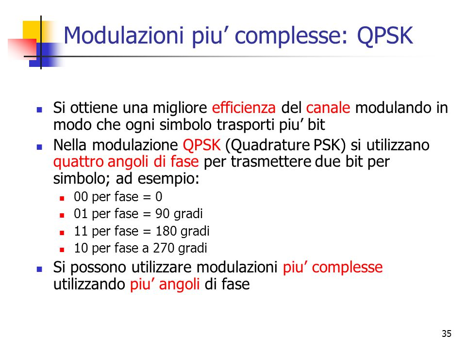 35 Modulazioni piu' complesse: QPSK Si ottiene una migliore efficienza del canale modulando in modo che ogni simbolo trasporti piu' bit Nella modulazione QPSK (Quadrature PSK) si utilizzano quattro angoli di fase per trasmettere due bit per simbolo; ad esempio: 00 per fase = 0 01 per fase = 90 gradi 11 per fase = 180 gradi 10 per fase a 270 gradi Si possono utilizzare modulazioni piu' complesse utilizzando piu' angoli di fase
