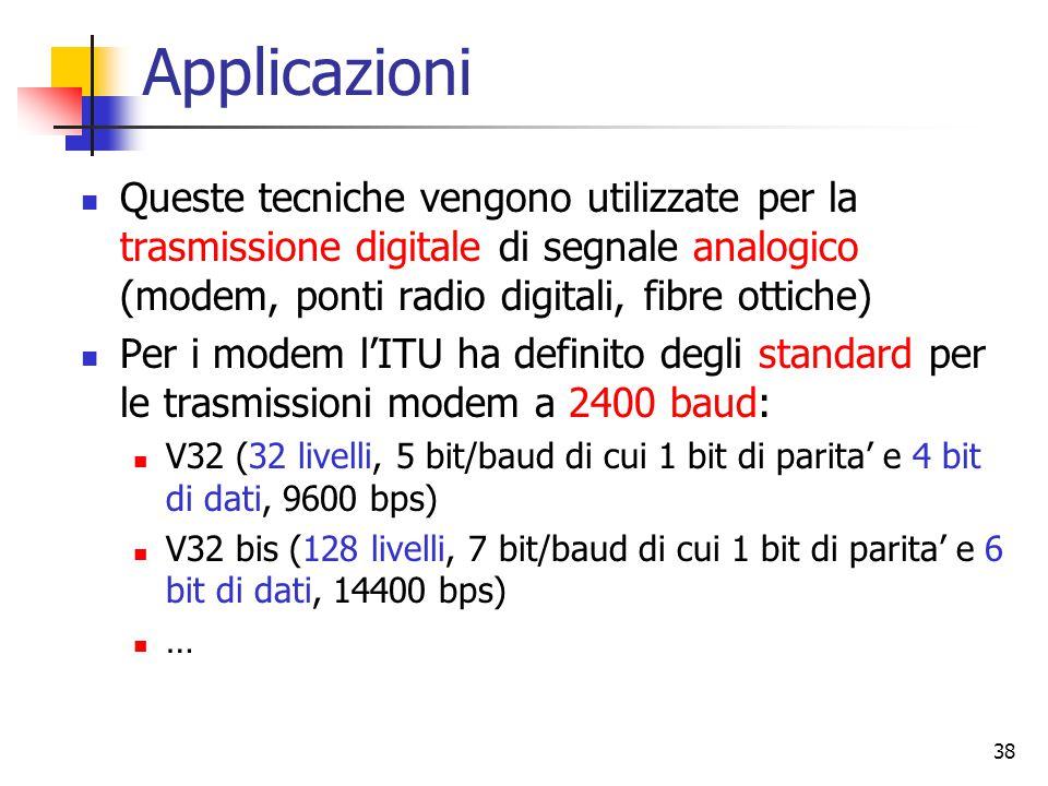 38 Applicazioni Queste tecniche vengono utilizzate per la trasmissione digitale di segnale analogico (modem, ponti radio digitali, fibre ottiche) Per i modem l'ITU ha definito degli standard per le trasmissioni modem a 2400 baud: V32 (32 livelli, 5 bit/baud di cui 1 bit di parita' e 4 bit di dati, 9600 bps) V32 bis (128 livelli, 7 bit/baud di cui 1 bit di parita' e 6 bit di dati, 14400 bps) …