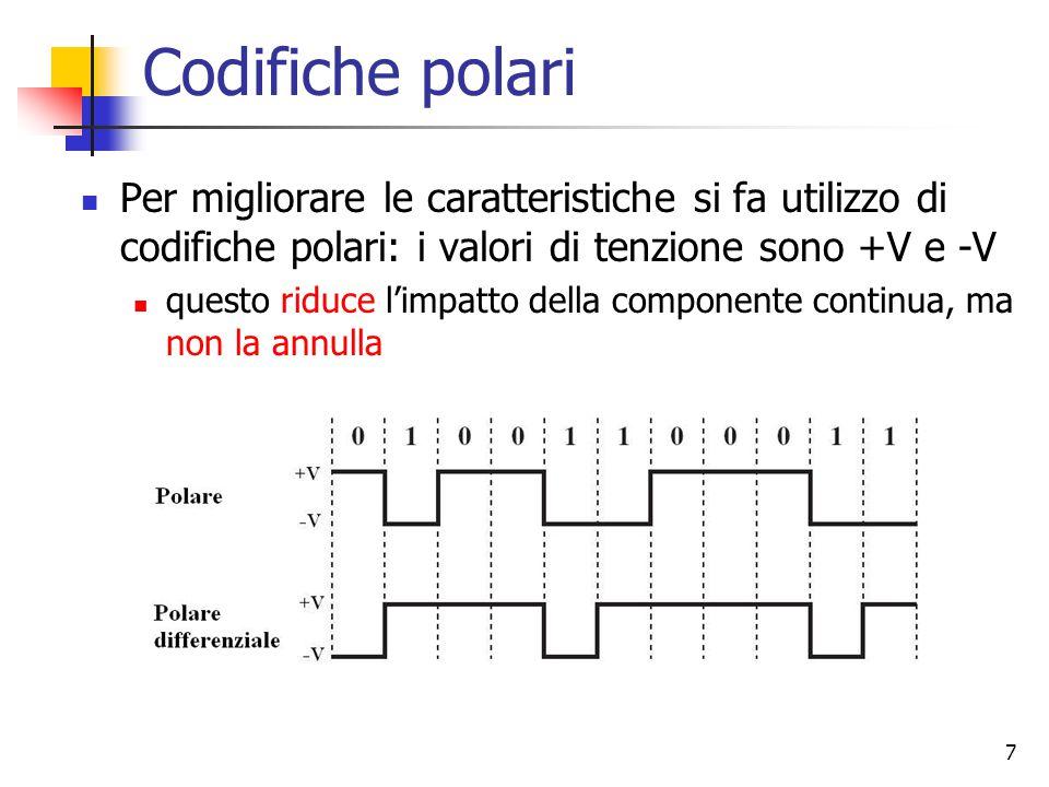 7 Codifiche polari Per migliorare le caratteristiche si fa utilizzo di codifiche polari: i valori di tenzione sono +V e -V questo riduce l'impatto della componente continua, ma non la annulla