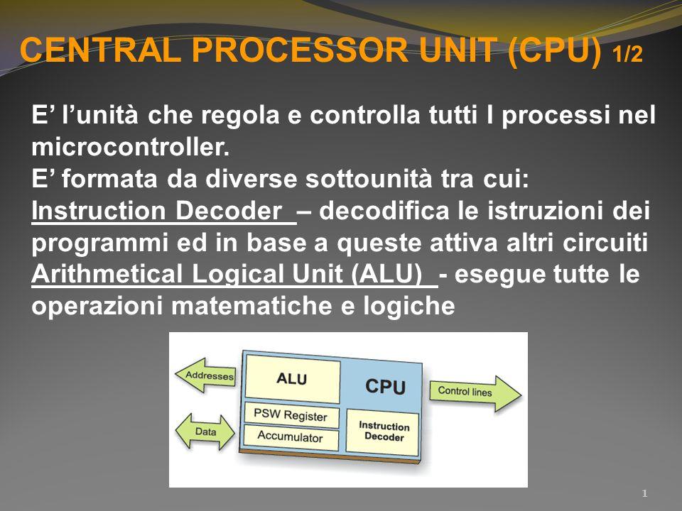 CENTRAL PROCESSOR UNIT (CPU) 1/2 E' l'unità che regola e controlla tutti I processi nel microcontroller. E' formata da diverse sottounità tra cui: Ins