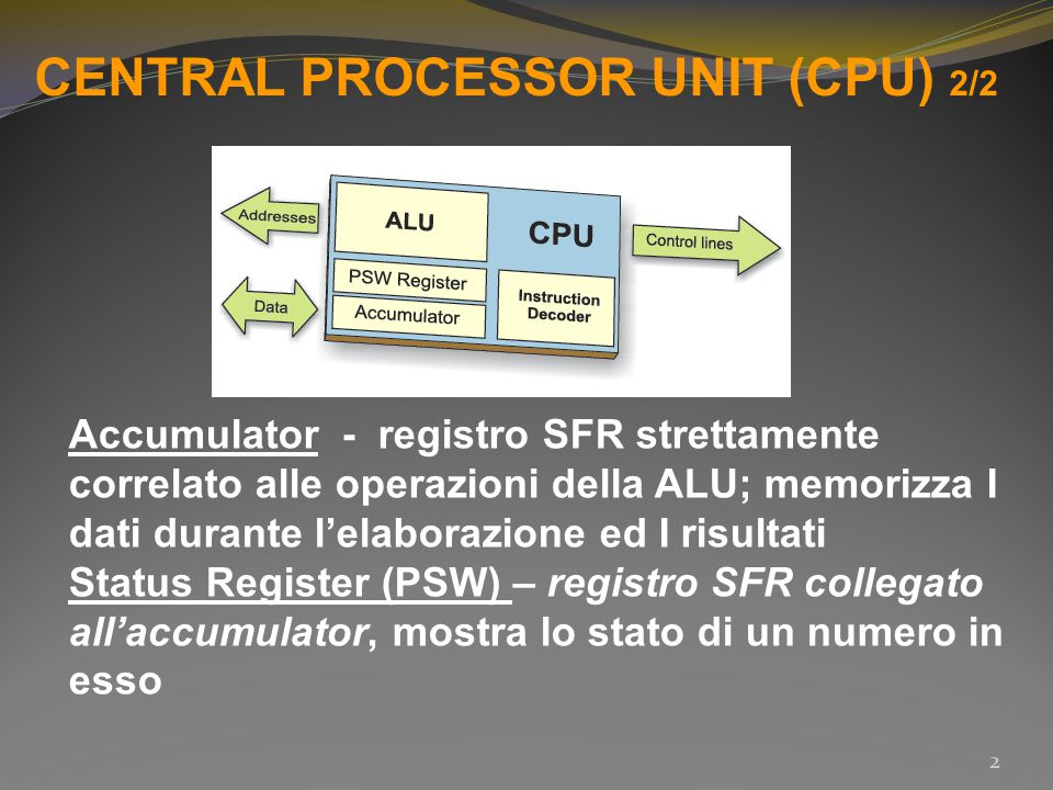 CENTRAL PROCESSOR UNIT (CPU) 2/2 Accumulator - registro SFR strettamente correlato alle operazioni della ALU; memorizza I dati durante l'elaborazione ed I risultati Status Register (PSW) – registro SFR collegato all'accumulator, mostra lo stato di un numero in esso 2