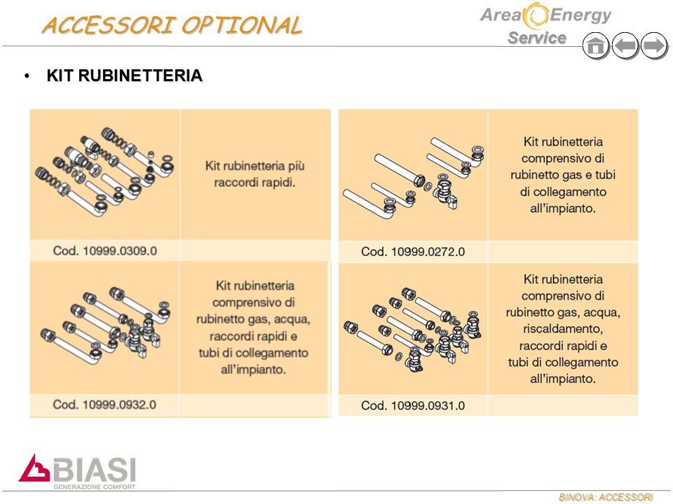 BINOVA: ACCESSORI Service ACCESSORI OPTIONAL KIT RUBINETTERIAKIT RUBINETTERIA
