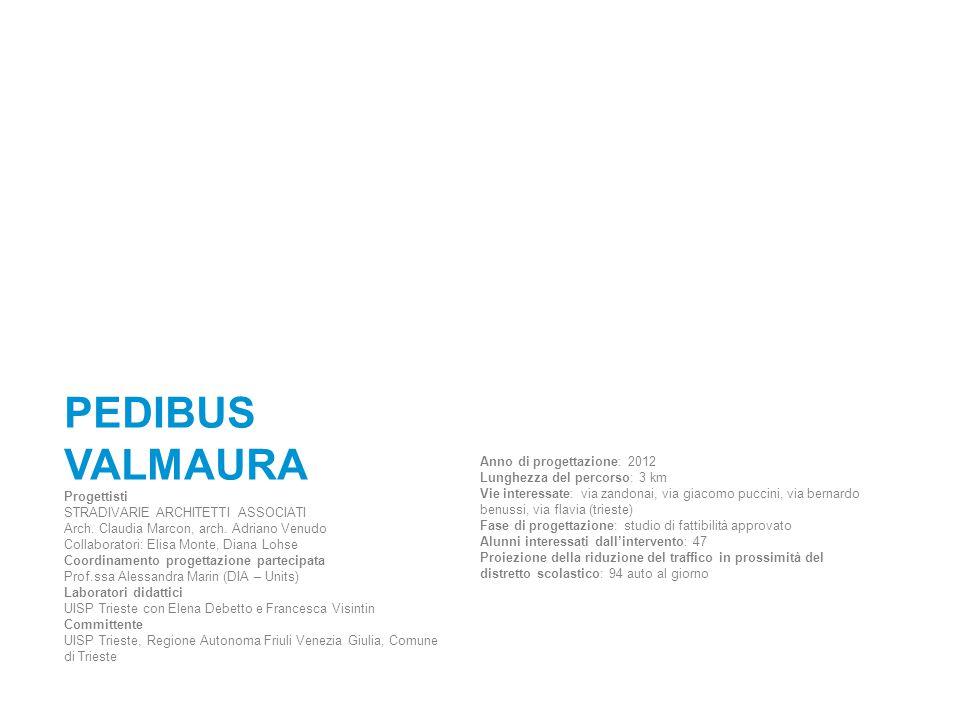 PEDIBUS VALMAURA Progettisti STRADIVARIE ARCHITETTI ASSOCIATI Arch. Claudia Marcon, arch. Adriano Venudo Collaboratori: Elisa Monte, Diana Lohse Coord