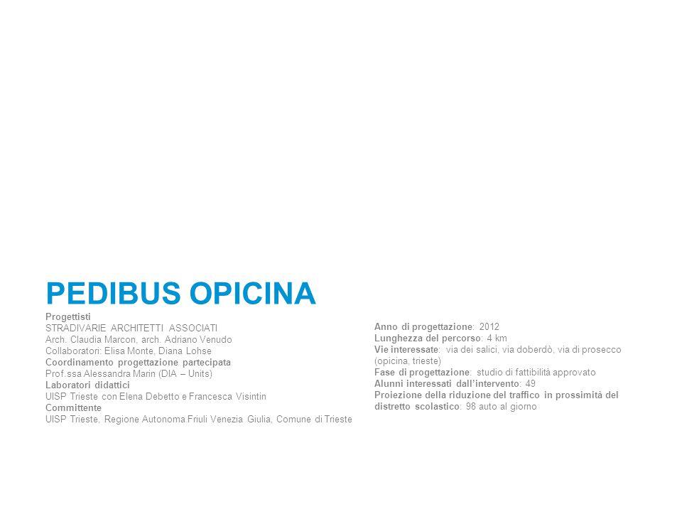 PEDIBUS OPICINA Progettisti STRADIVARIE ARCHITETTI ASSOCIATI Arch. Claudia Marcon, arch. Adriano Venudo Collaboratori: Elisa Monte, Diana Lohse Coordi