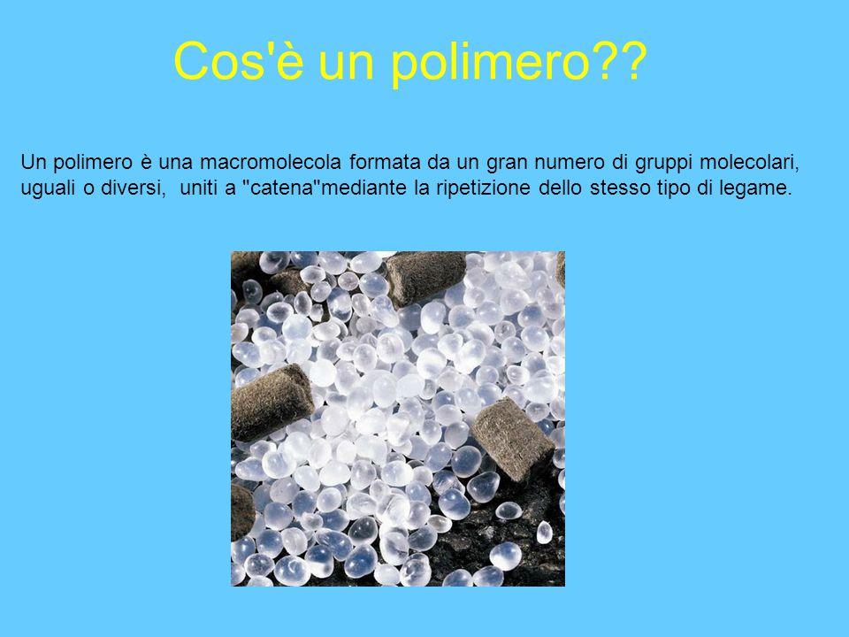 Cos'è un polimero?? Un polimero è una macromolecola formata da un gran numero di gruppi molecolari, uguali o diversi, uniti a
