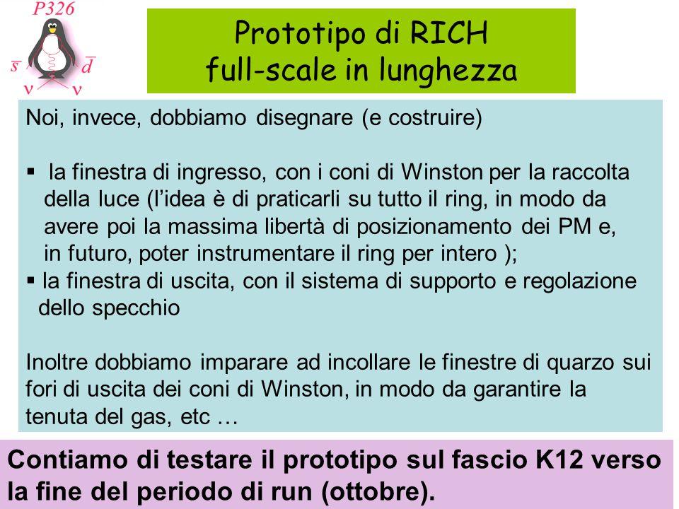 Prototipo di RICH full-scale in lunghezza Contiamo di testare il prototipo sul fascio K12 verso la fine del periodo di run (ottobre). Noi, invece, dob