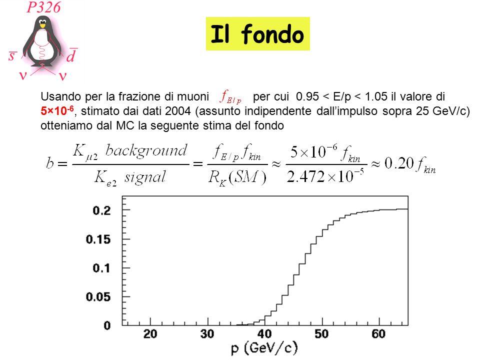 Il fondo Usando per la frazione di muoni per cui 0.95 < E/p < 1.05 il valore di 5×10 -6, stimato dai dati 2004 (assunto indipendente dall'impulso sopr
