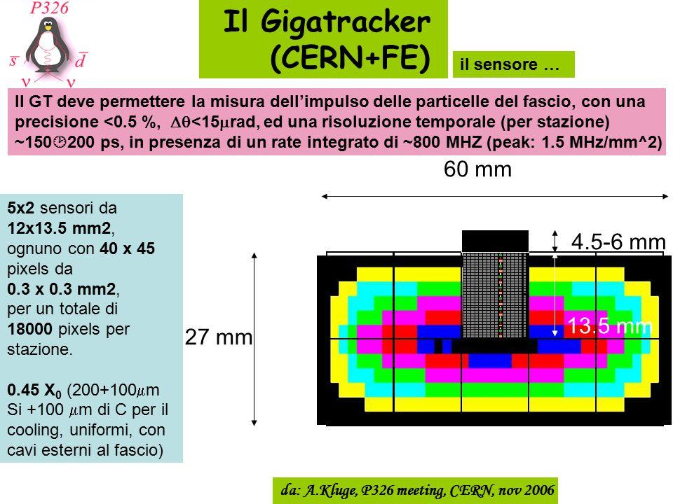 13.5 mm 60 mm 27 mm 4.5-6 mm da: A.Kluge, P326 meeting, CERN, nov 2006 Il Gigatracker (CERN+FE) Il GT deve permettere la misura dell'impulso delle par