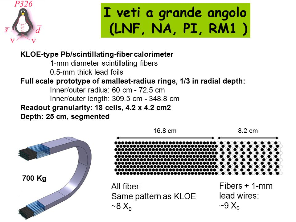I veti a grande angolo (LNF, NA, PI, RM1 ) 16.8 cm8.2 cm All fiber: Same pattern as KLOE ~8 X 0 Fibers + 1-mm lead wires: ~9 X 0 KLOE-type Pb/scintillating-fiber calorimeter 1-mm diameter scintillating fibers 0.5-mm thick lead foils Full scale prototype of smallest-radius rings, 1/3 in radial depth: Inner/outer radius: 60 cm - 72.5 cm Inner/outer length: 309.5 cm - 348.8 cm Readout granularity: 18 cells, 4.2 x 4.2 cm2 Depth: 25 cm, segmented 700 Kg