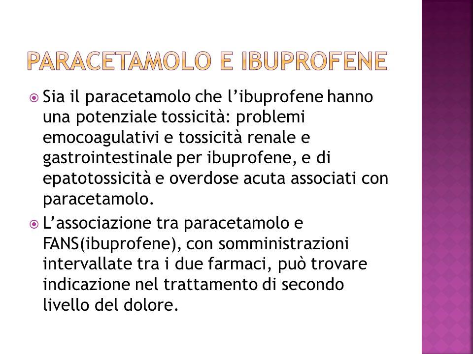  Sia il paracetamolo che l'ibuprofene hanno una potenziale tossicità: problemi emocoagulativi e tossicità renale e gastrointestinale per ibuprofene,
