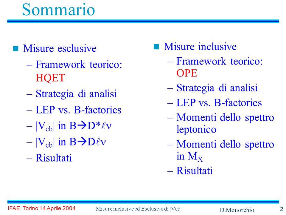D.Monorchio IFAE, Torino 14 Aprile 2004 Misure inclusive ed Esclusive di |Vcb| 2 Sommario Misure esclusive –Framework teorico: HQET –Strategia di analisi –LEP vs.