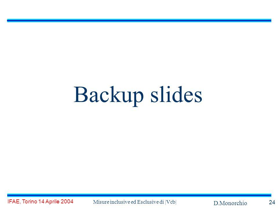 D.Monorchio IFAE, Torino 14 Aprile 2004 Misure inclusive ed Esclusive di |Vcb| 24 Backup slides