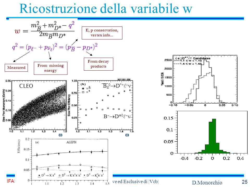 D.Monorchio IFAE, Torino 14 Aprile 2004 Misure inclusive ed Esclusive di |Vcb| 25 Ricostruzione della variabile w B   D* 0  B d 0  D *+   CLEO Measured From missing energy E, p conservation, vertex info...