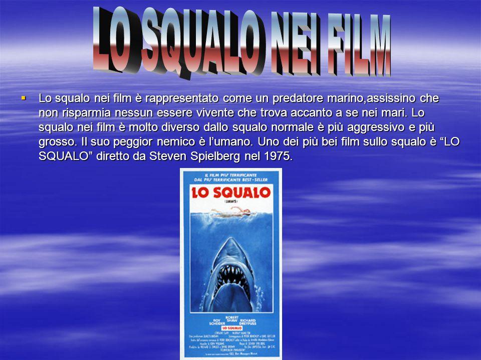  Lo squalo nei film è rappresentato come un predatore marino,assissino che non risparmia nessun essere vivente che trova accanto a se nei mari. Lo sq