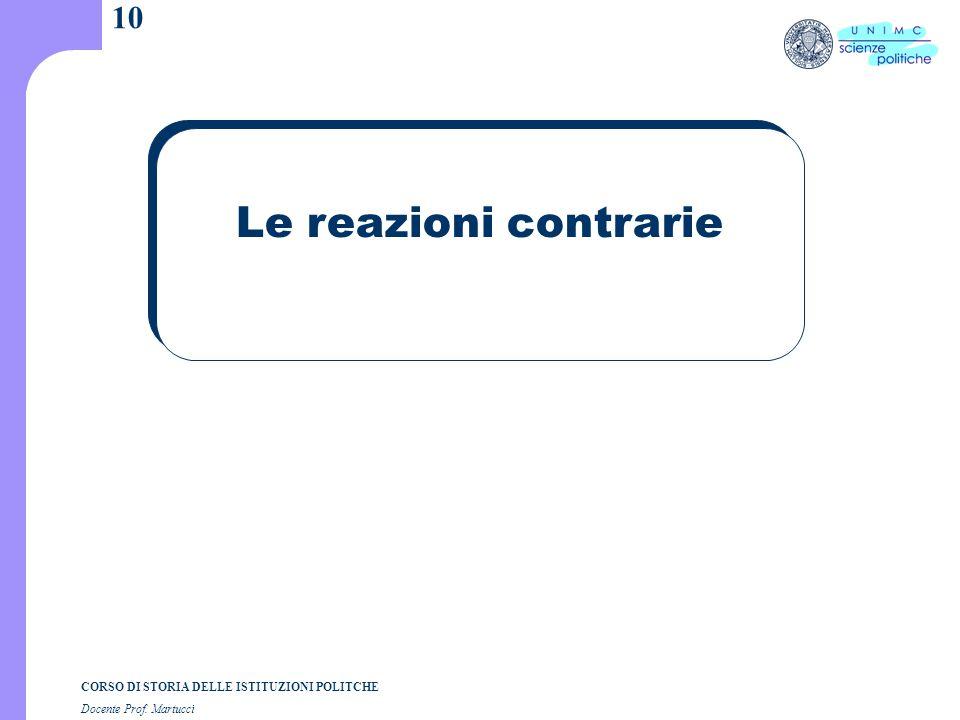 CORSO DI STORIA DELLE ISTITUZIONI POLITCHE Docente Prof. Martucci 10 Le reazioni contrarie
