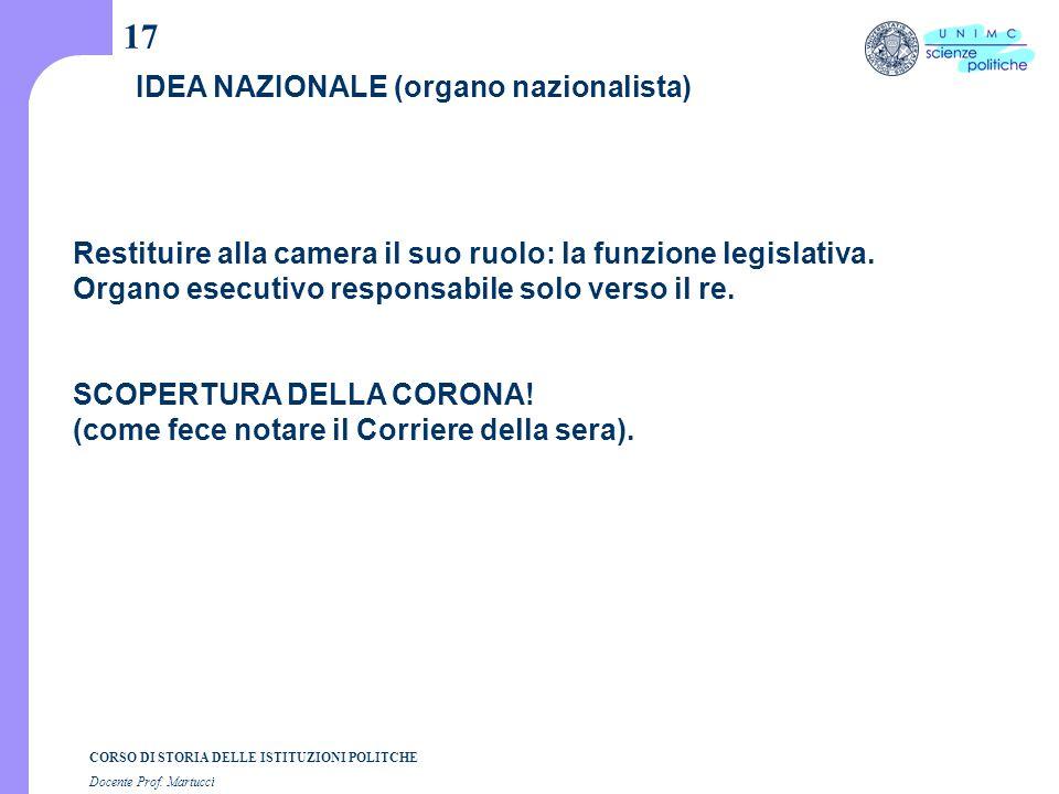 CORSO DI STORIA DELLE ISTITUZIONI POLITCHE Docente Prof. Martucci 17 IDEA NAZIONALE (organo nazionalista) Restituire alla camera il suo ruolo: la funz