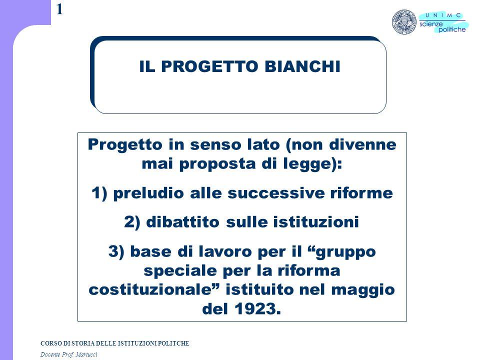 CORSO DI STORIA DELLE ISTITUZIONI POLITCHE Docente Prof. Martucci 1 IL PROGETTO BIANCHI Progetto in senso lato (non divenne mai proposta di legge): 1)