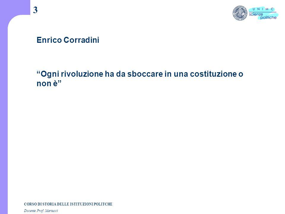 """CORSO DI STORIA DELLE ISTITUZIONI POLITCHE Docente Prof. Martucci 3 Enrico Corradini """"Ogni rivoluzione ha da sboccare in una costituzione o non è"""""""