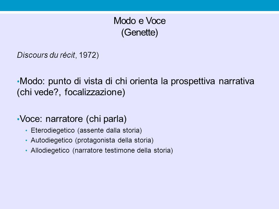 Focalizzazione Focalizzazione zero (assenza di focalizzazione) Focalizzazione interna: la scena è vista dalla prospettiva di un personaggio Focalizzazione esterna: nessun accesso alla prospettiva dei personaggi