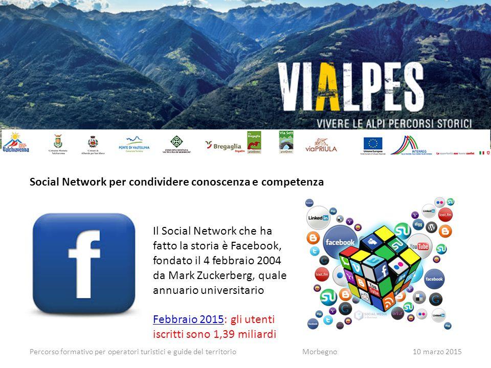 Percorso formativo per operatori turistici e guide del territorioMorbegno10 marzo 2015 Social Network per condividere conoscenza e competenza Il Socia