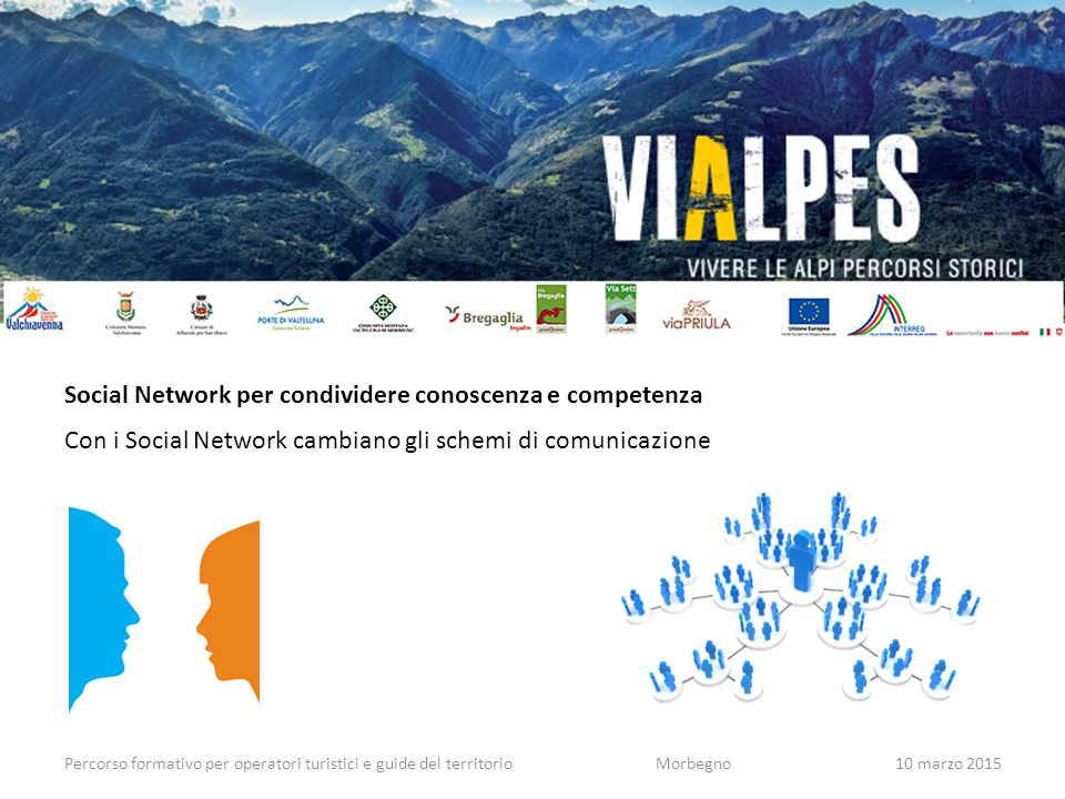 Percorso formativo per operatori turistici e guide del territorioMorbegno10 marzo 2015 Social Network per condividere conoscenza e competenza Con i So