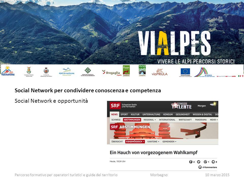 Percorso formativo per operatori turistici e guide del territorioMorbegno10 marzo 2015 Social Network per condividere conoscenza e competenza Social Network e opportunità